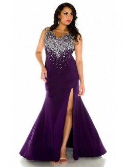 Trumpet mermaid sweep prom dress plus size