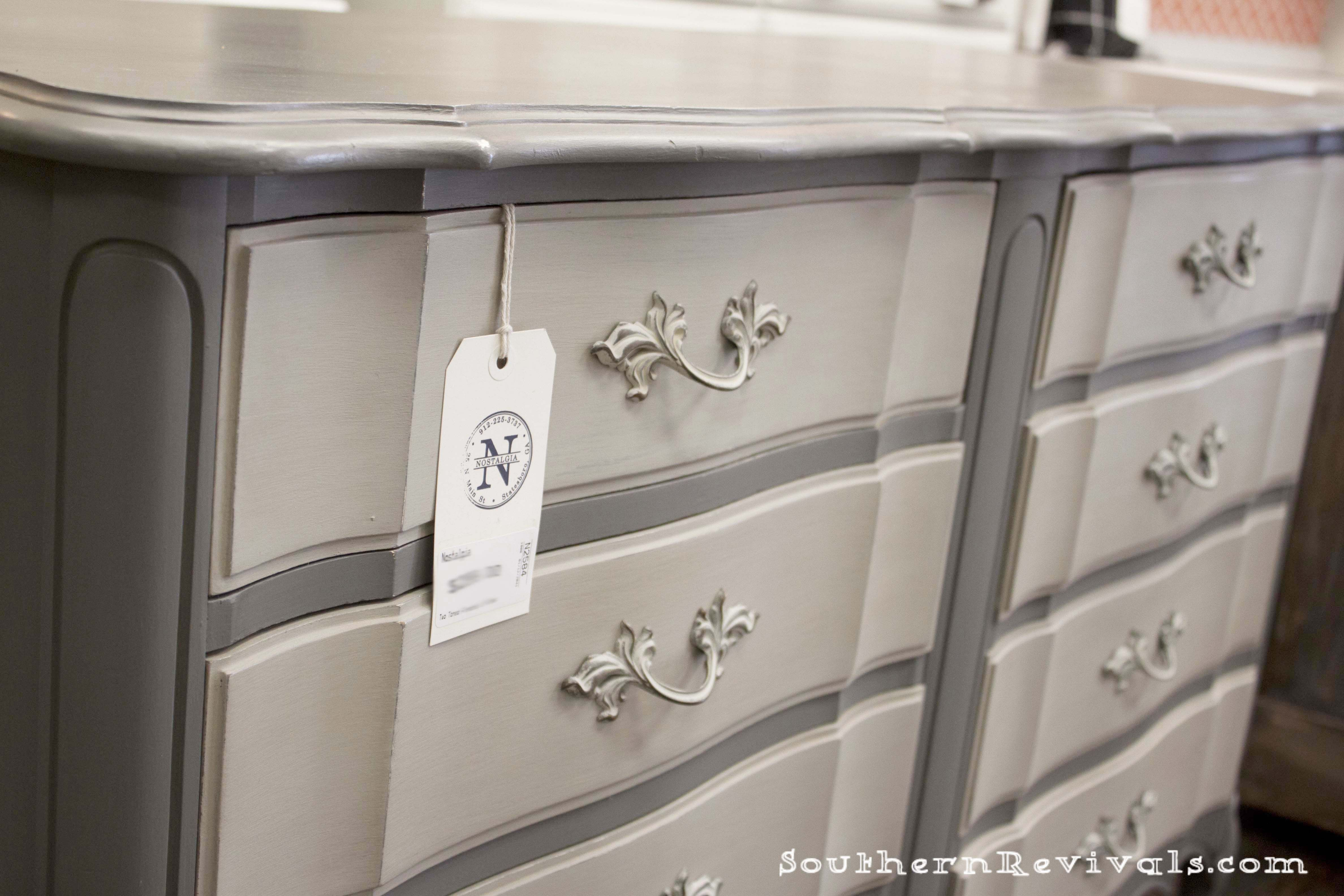 One Is French Provincial Furniture The Other Gray This Dresser Painted With Maison Blanche S Vintage Paint In Confederate And