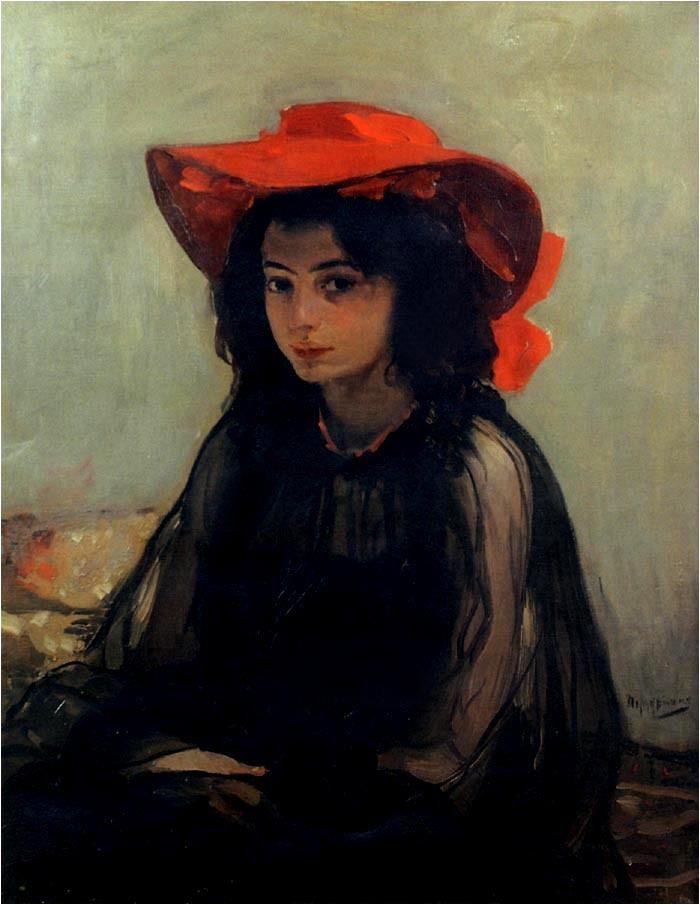 Divchyna v chervonim kapeliusi - Portrait of a girl in a red hat (1903) by Oleksandr Murashko (1875-1919), Ukrainian (lawrenceleemagnuson)