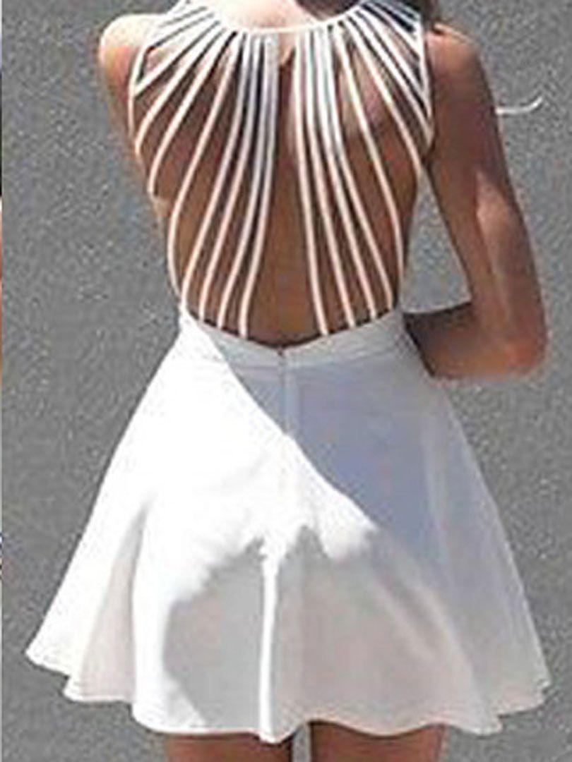 White Back Strappy Sleeveless Skater Mini Dress