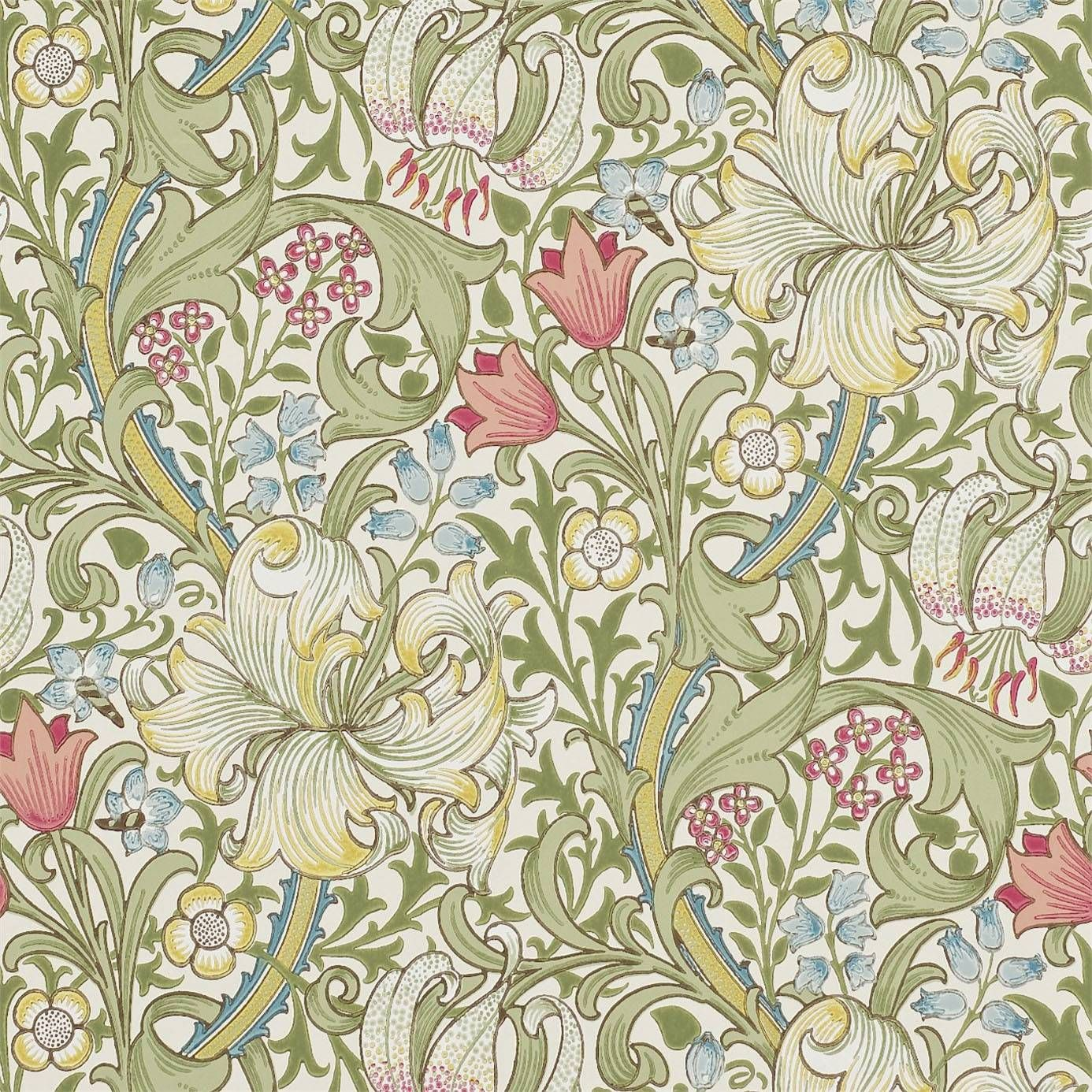 Обои Декор William Morris And Co Golden Lily Wallpaper Green