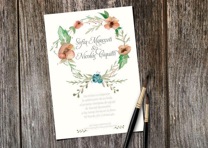 Invitación Floral Crown blanca