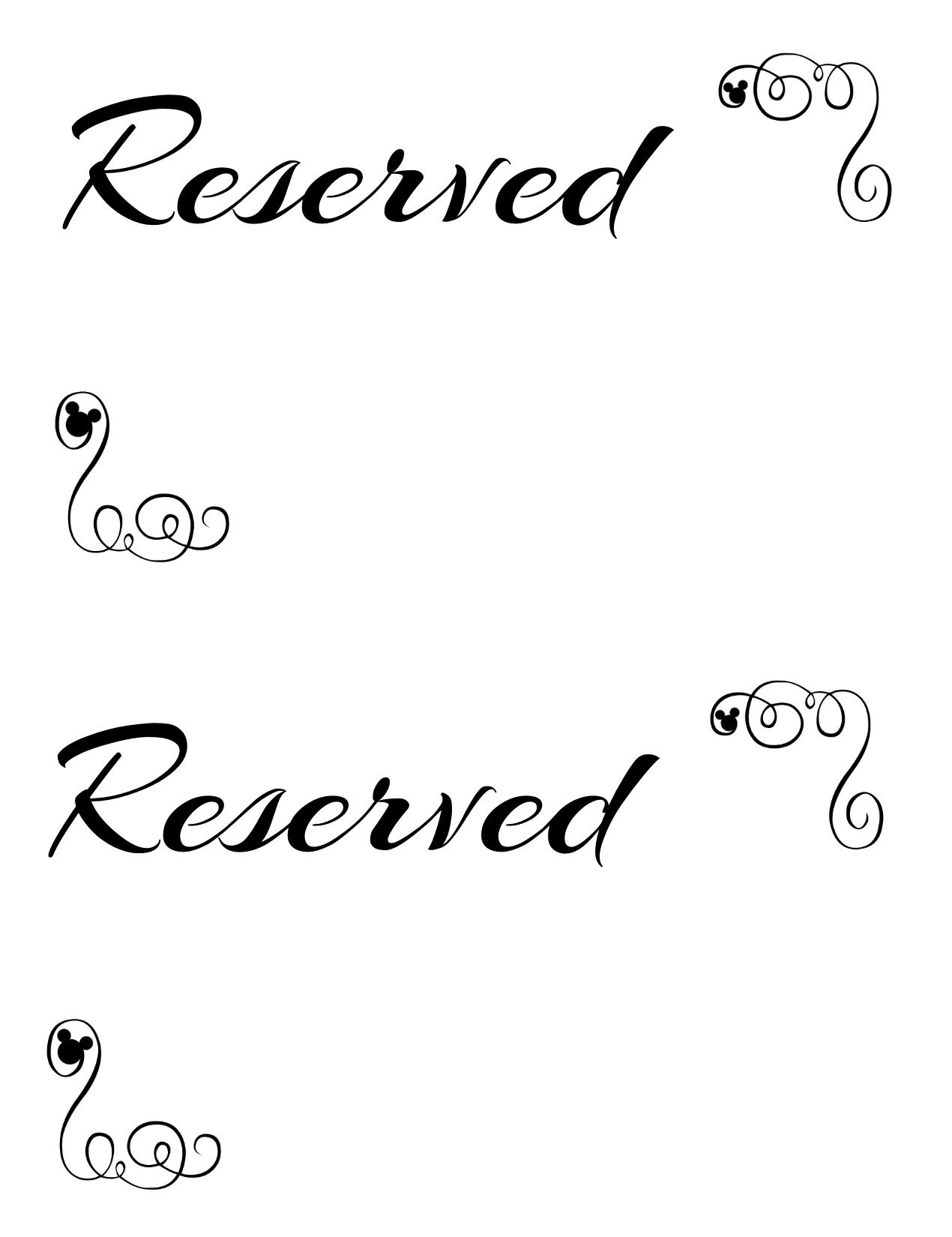 graphic regarding Reserved Sign Printable known as Free of charge Printable Reserved Seating Indications for Your Wedding ceremony