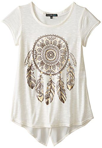 7018abc54b My Michelle Big Girls  Shortsleeve Top with Envelope Back and Dreamcatcher  Front Print