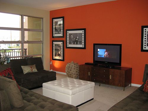 Like Bedroom Dark Orange Accent Wall Accent Walls In Living Room