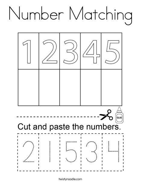 Number Matching Coloring Page - Twisty Noodle | Preschool ...