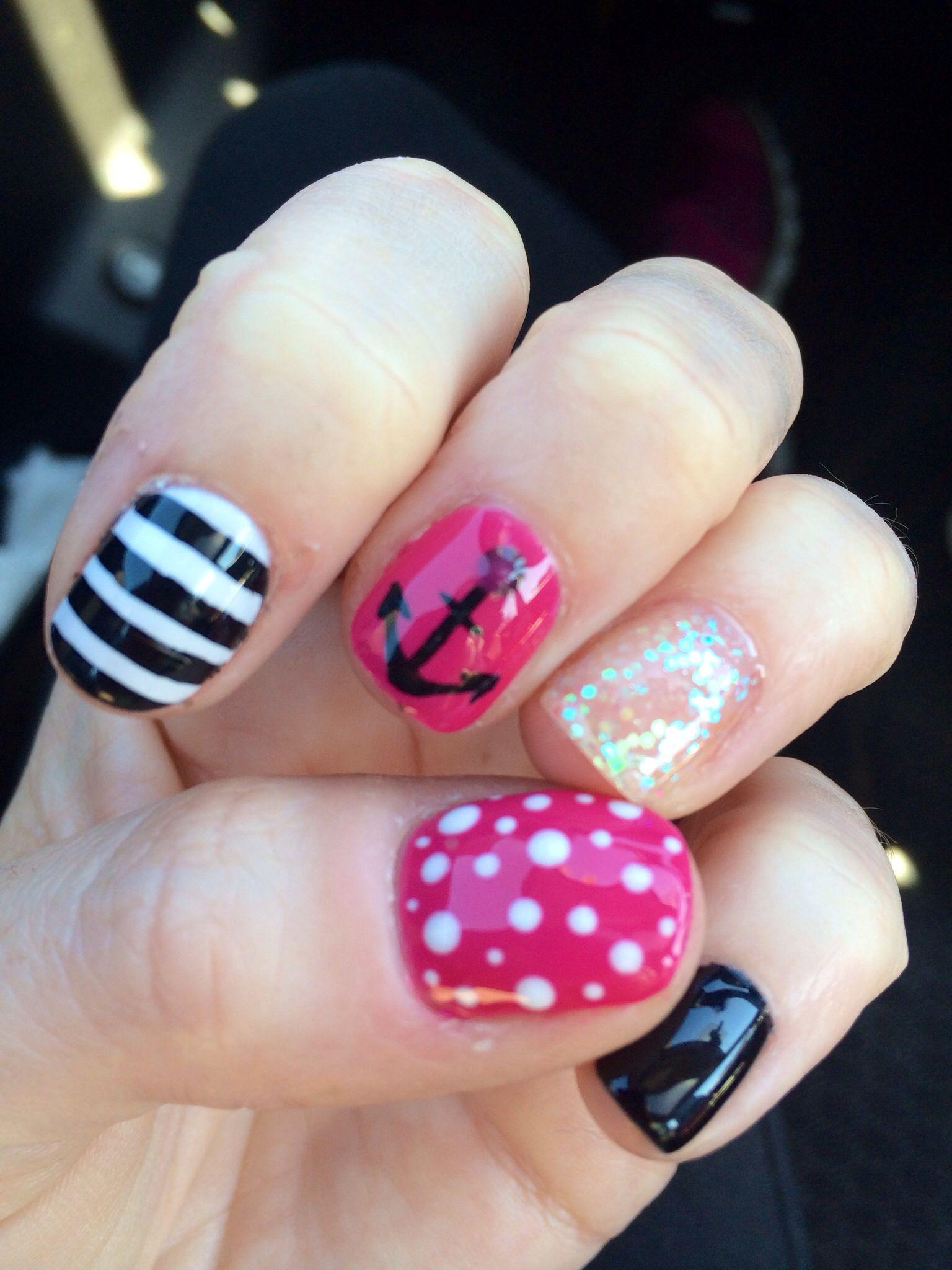 Gel polish nail designs. Nautical nails. Anchor nails. Glitter ...