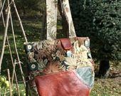sac bandouliere cuir et tissu - forme demi-lune : Sacs bandoulière par couturedeaudile