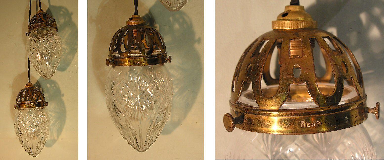 Antique Lighting An Original Pair of Edwardian Cut Glass Pendant Lights with Gilt Brass Cage & Antique Lighting: An Original Pair of Edwardian Cut Glass Pendant ...