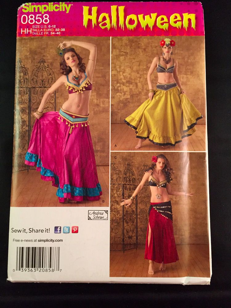 Simplicity 0858 Belly Dancer Gypsy Halloween Costume Sewing Pattern ...