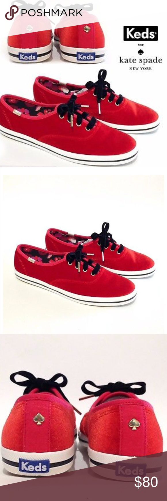 4ced5628ea1a NWT KATE SPADE KEDS Velvet Lace-Up Sneaker 6 NWT Super fun red velvet X Kate  Spade Keds lace up sneaker. Canvas with red velvet and rubber sole.