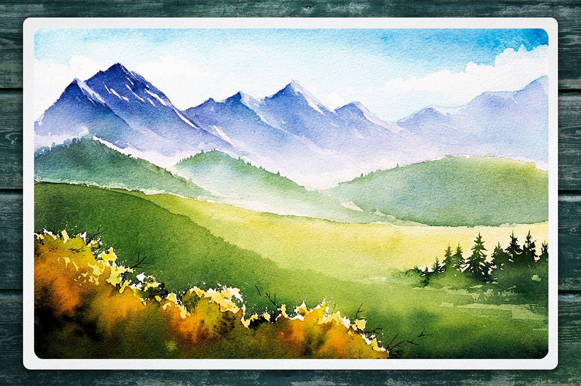 Autumn Watercolor Landscapes 6965 Backgrounds Design Bundles Watercolor Landscape Fall Watercolor Landscape Paintings