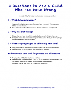 3 Questions to Ask a Child Who Has Done Wrong