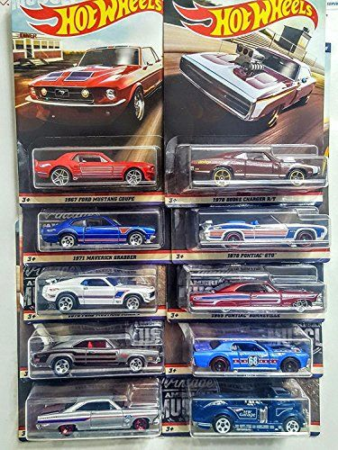 2019 Hot Wheels-Walmart Exclusive-American Muscle Car Em Aço-Conjunto De 10