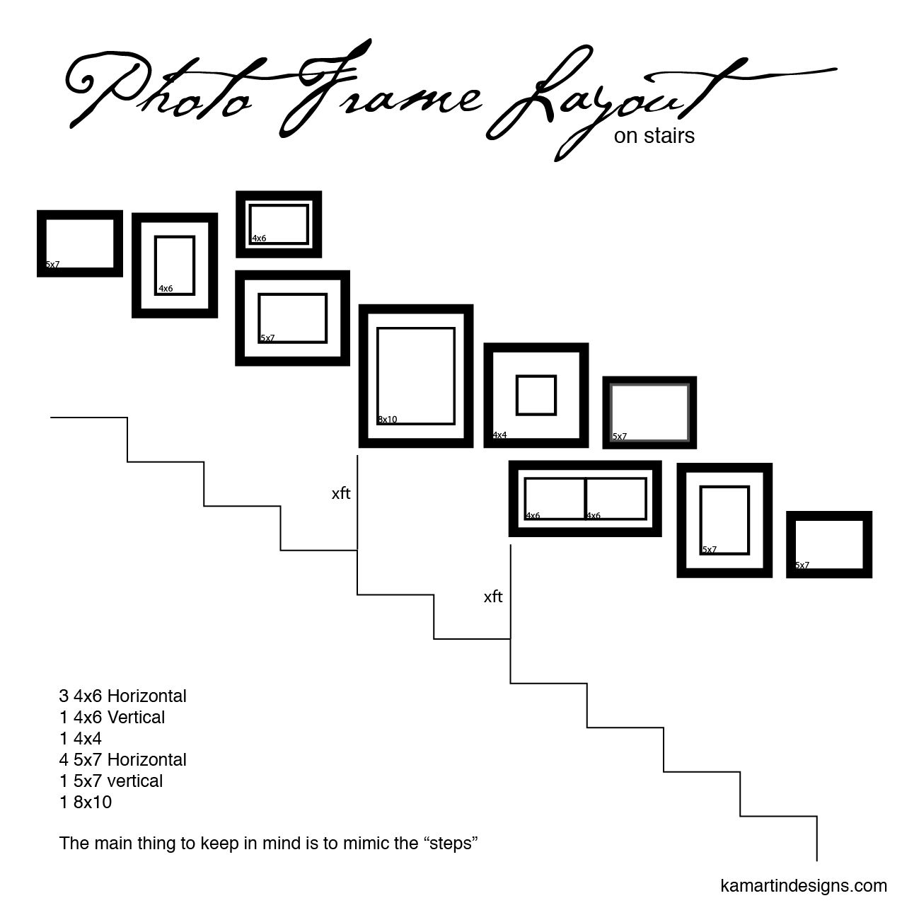 Photo frame layout on stairs this is how i designed my for Picture wall layout
