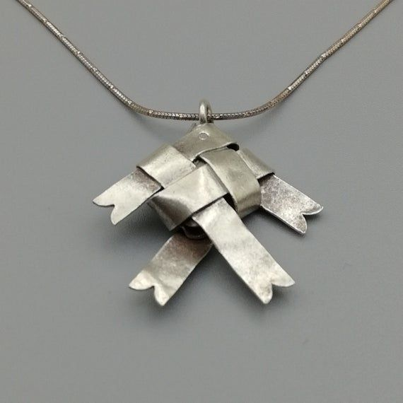 Photo of 1 Sterling Silver Origami Fish Pendant |  97 Percent Sterling Silver Hill Tribe Pendants | KC43