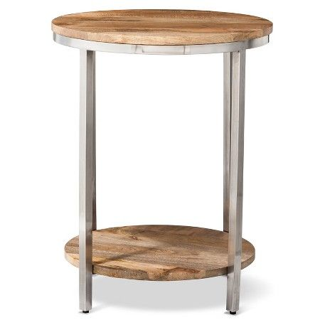 Charming Berwyn Large Round End Table Metal And Wood   Threshold™ : Target