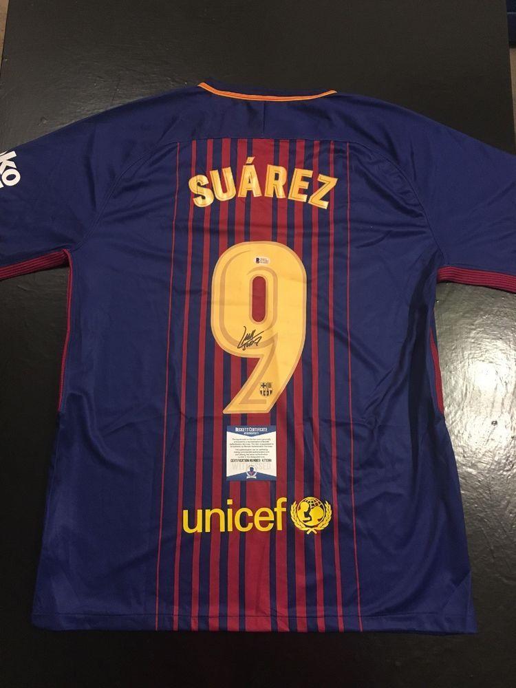 7d0f24c5c9a Luis Suarez FC Barcelona Autographed Sz XL Jersey BAS Beckett Cert (JSA  PSA) (eBay Link)