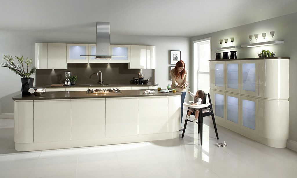 Kitchen Ideas Gloss handleless cream gloss kitchen image 2 | kitchen ideas | pinterest