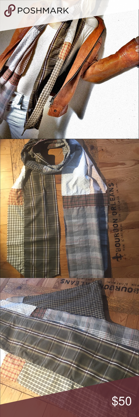 Upcycled neutral plaid scarf // Last Dance