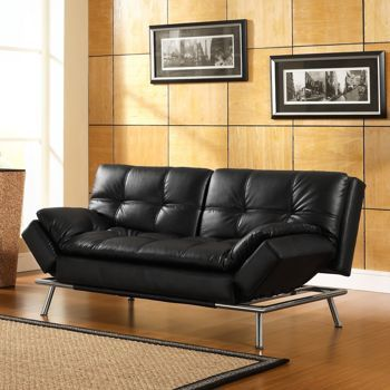 Belize Euro Lounger Black Bonded Leather By Lifestyle Solutions