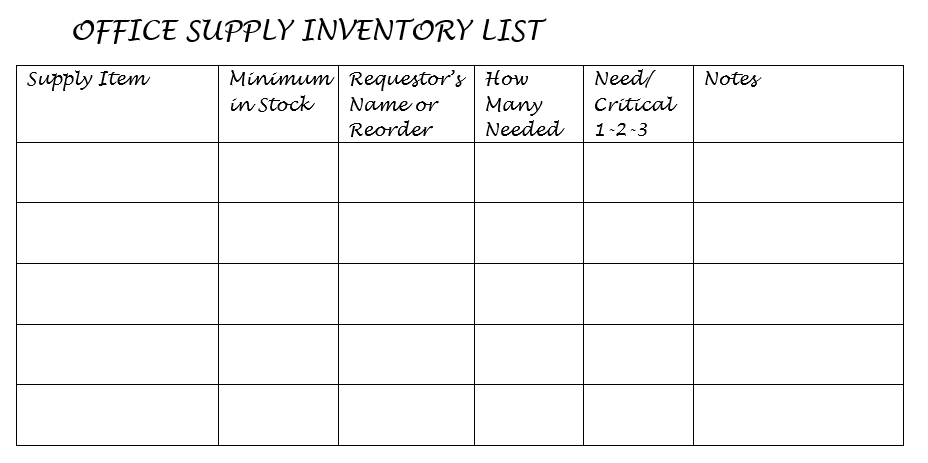 Bullet Journaling On The Job Office Supply Inventory List