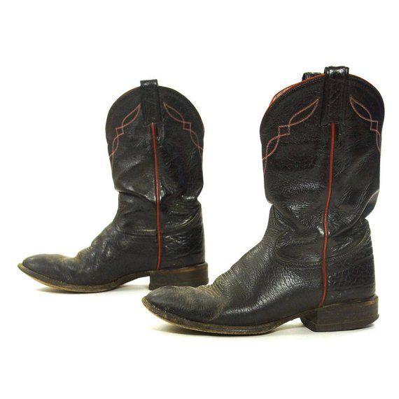 fb0ce9867 Tony Lama Black Label Cowboy Boots / Vintage Black Leather Shortie ...