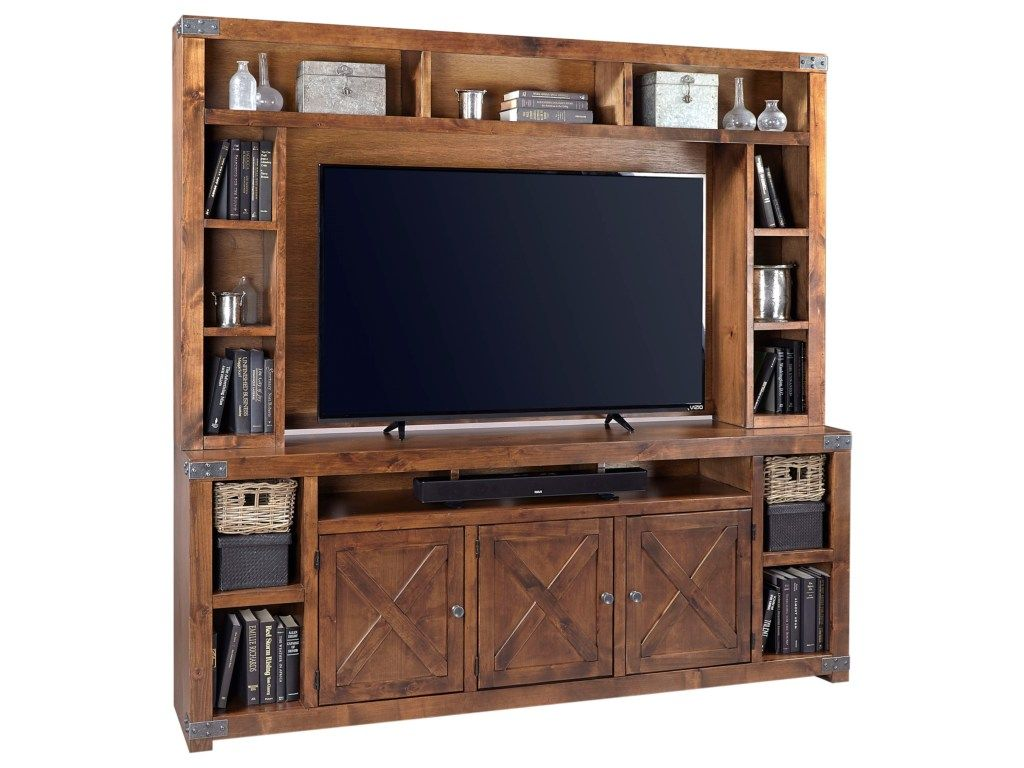 Urban farmhouse 84 console and hutch inspired by classic barn doors this entertainment unit highlights clean lines and x shaped door fronts for an urban