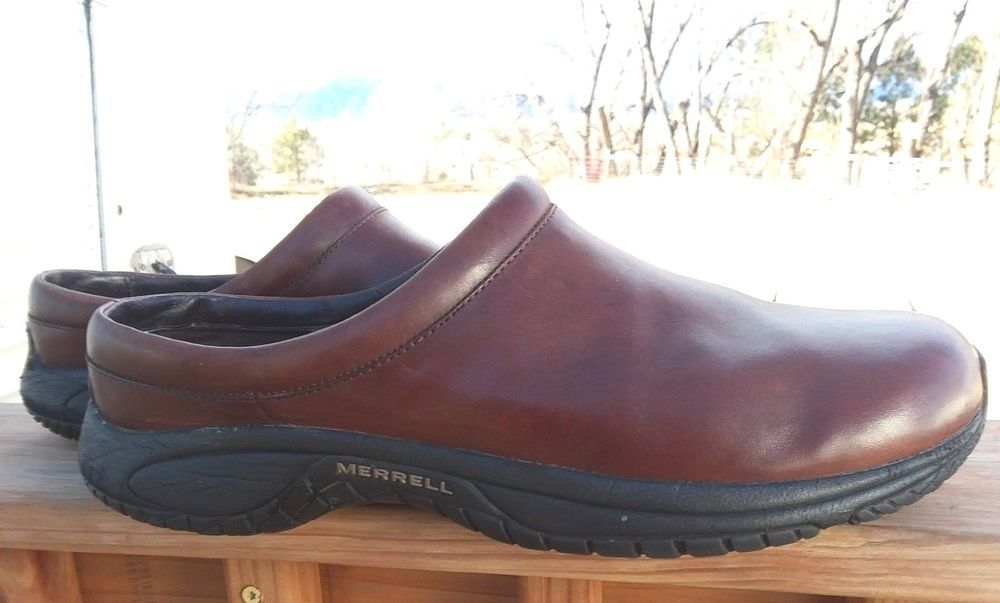 daf9a22e6f Details about Merrell Smooth Bug Brown Leather Mules Clogs Slides ...