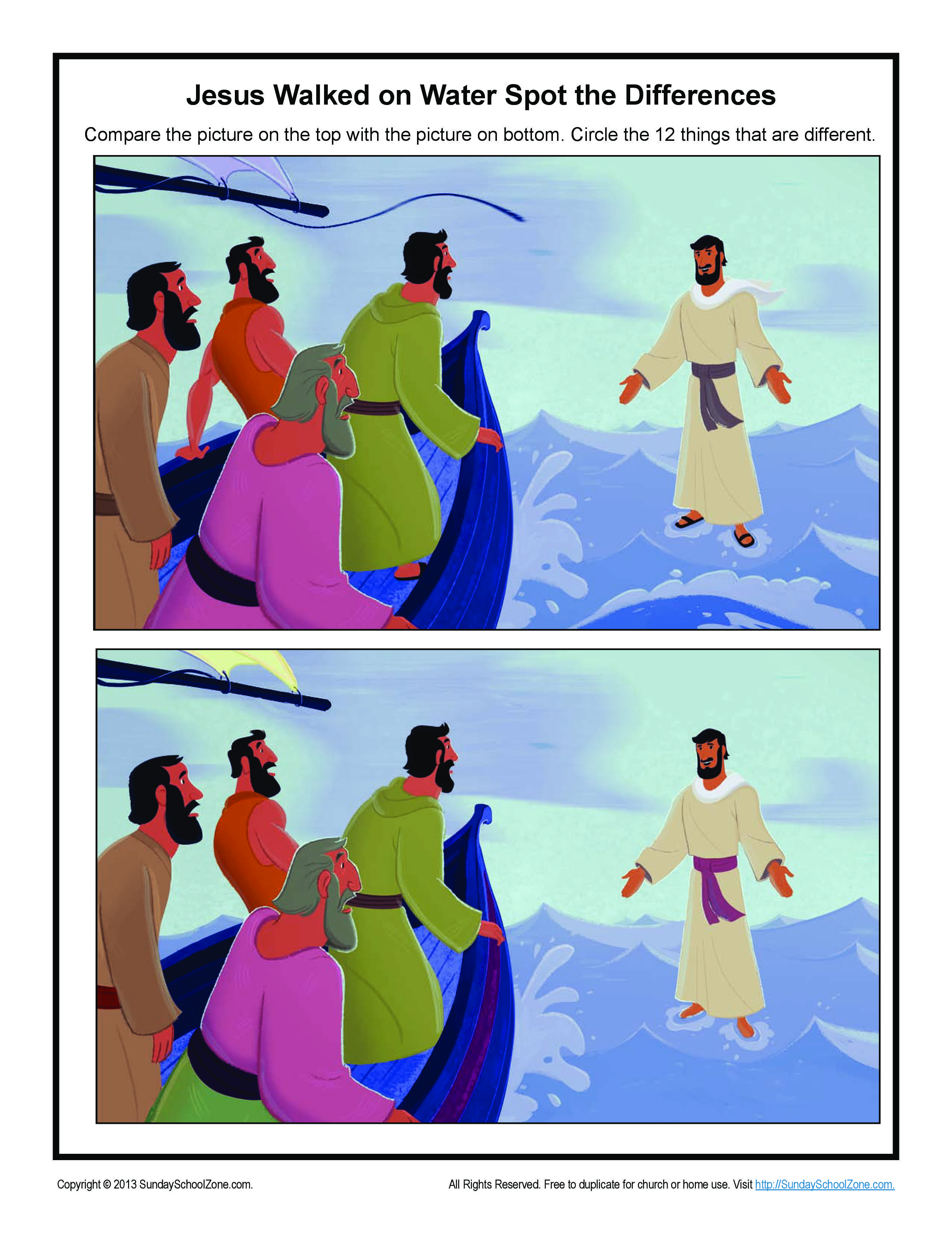 Jesus Walks On Water Spot The Differences Game Bible Activities For Children Jesus Walk On Water Walk On Water Bible Activities