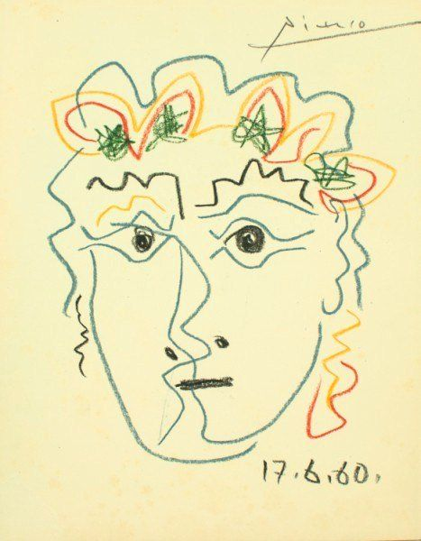 Pablo picasso colored pencil drawing 1960
