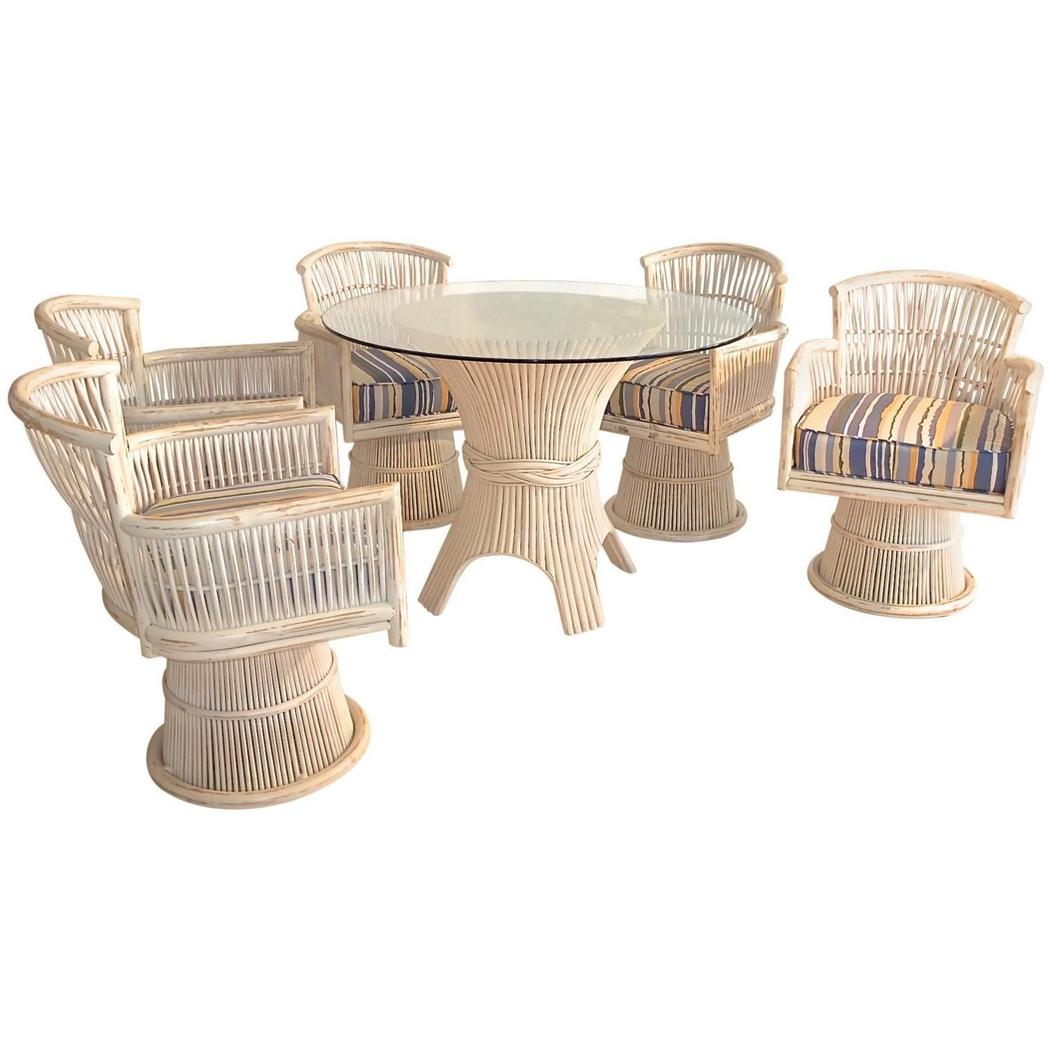 McGuire Bamboo Sheaf Dining Table and Five Swivel Chairs Swivel
