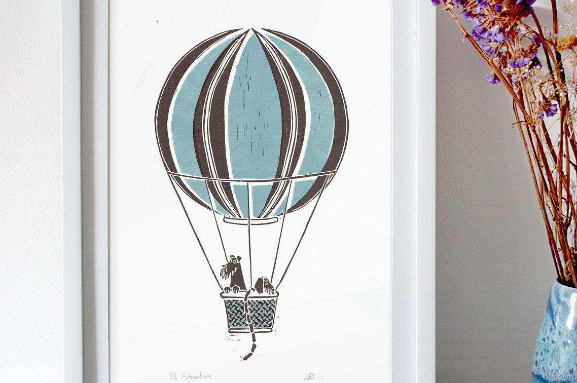 Adventure - Blue Brown linocut Print  - terrier & dachshund having a trip in a hot air balloon- original wall art with a vintage retro feel by JDavidBennett on Etsy https://www.etsy.com/listing/204285324/adventure-blue-brown-linocut-print