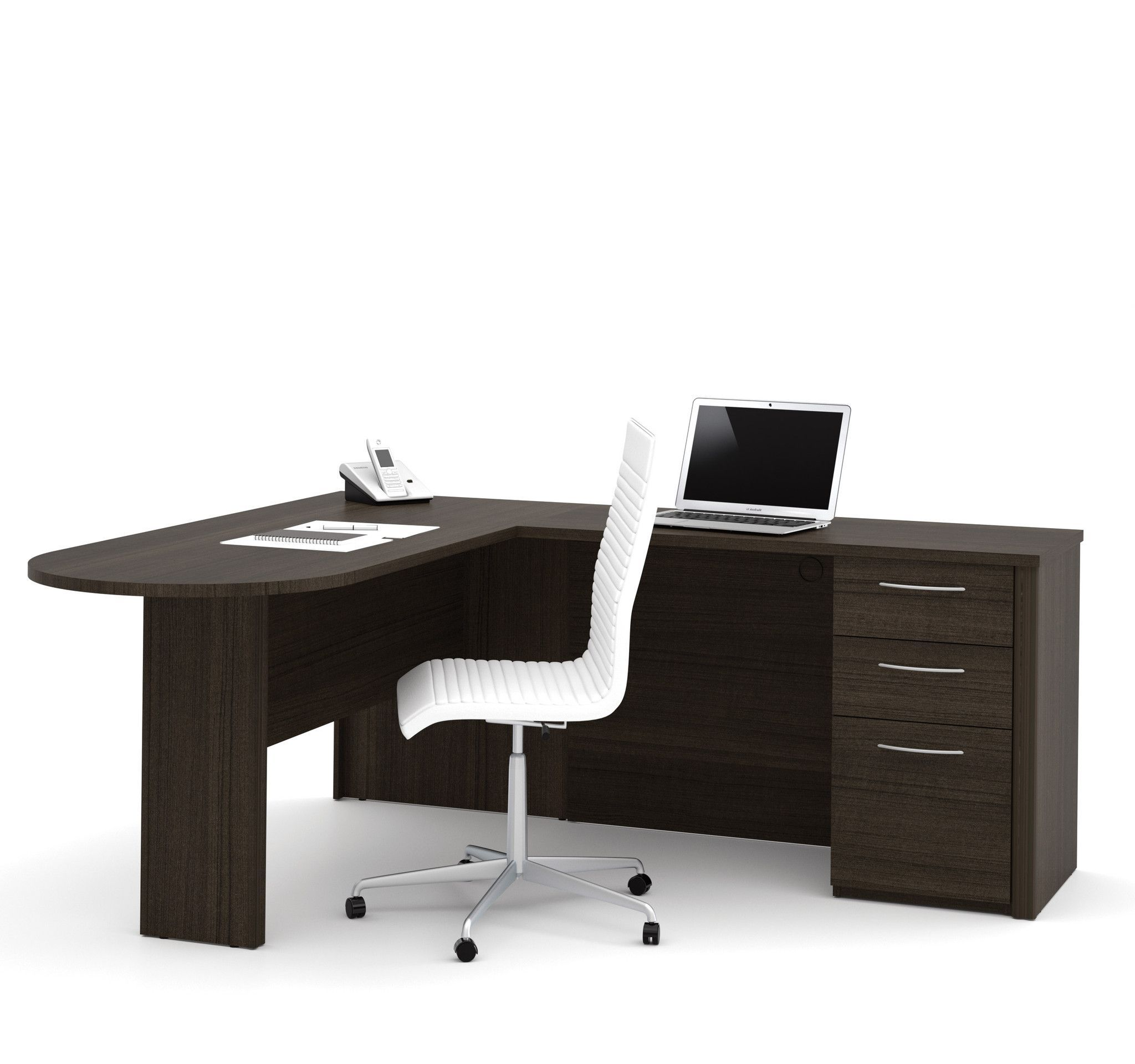 Dark Chocolate Modern L Shaped Desk With Peninsula Modern L Shaped Desk L Shaped Desk L Shaped Executive Desk