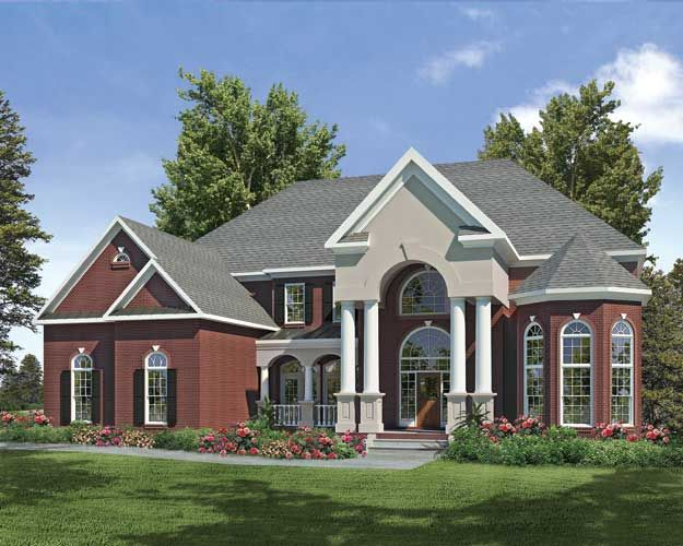 Grand columns give sophistication to this large southern for Traditional southern house plans