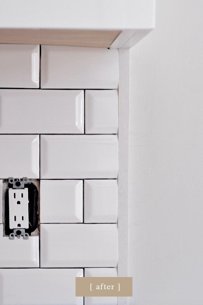 Craftsman Bungalow Renovation Beveled Subway Tiles Pewter Grout