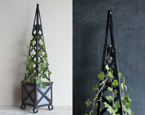 Vintage Topiary Tall Black Obelisk Trellis Wrought Iron Garden Planter With  Tin Insert 32 Inches High