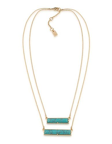 Lauren Ralph Lauren Match Point 12K Gold-Plated Turquoise Two Row Rect
