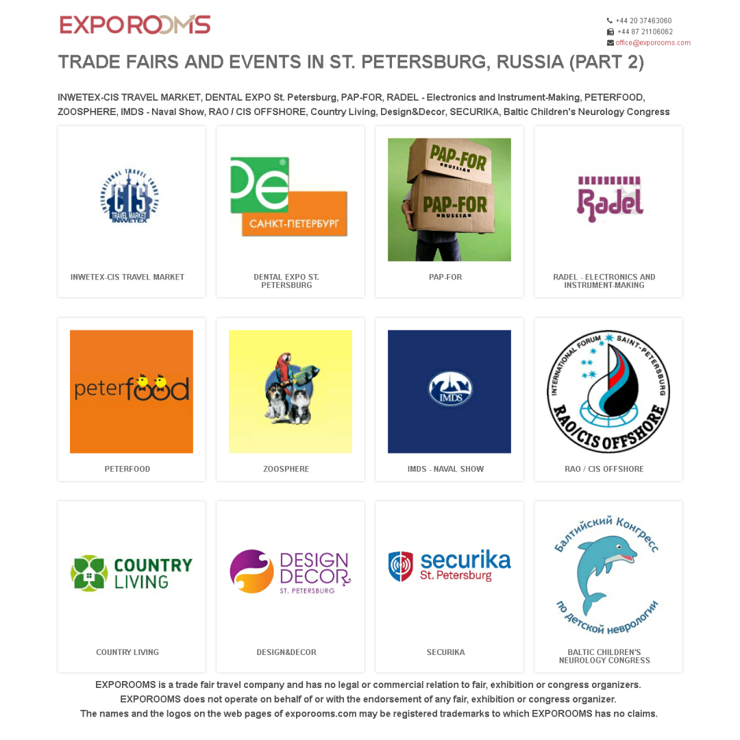Trade Fairs and Events in St. Petersburg, Russia (part 2