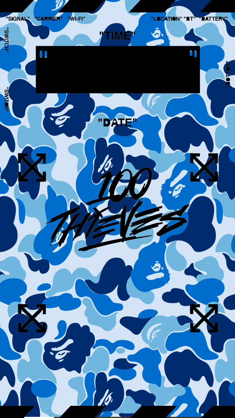 100 Thieves Off White And Bape All In One Phone Background Designed By Yours Truely Bape Wallpaper Iphone Hypebeast Wallpaper Iphone Lockscreen Wallpaper