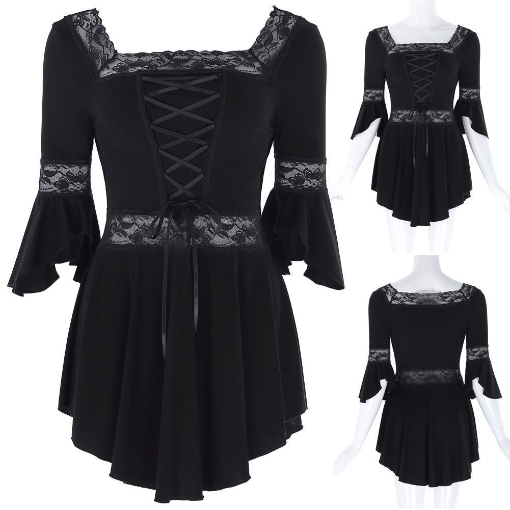c703ea5af3 Victorian Gothic Steampunk Costume Womens Gypsy Shirt Cotton Boho Blouse  Tops