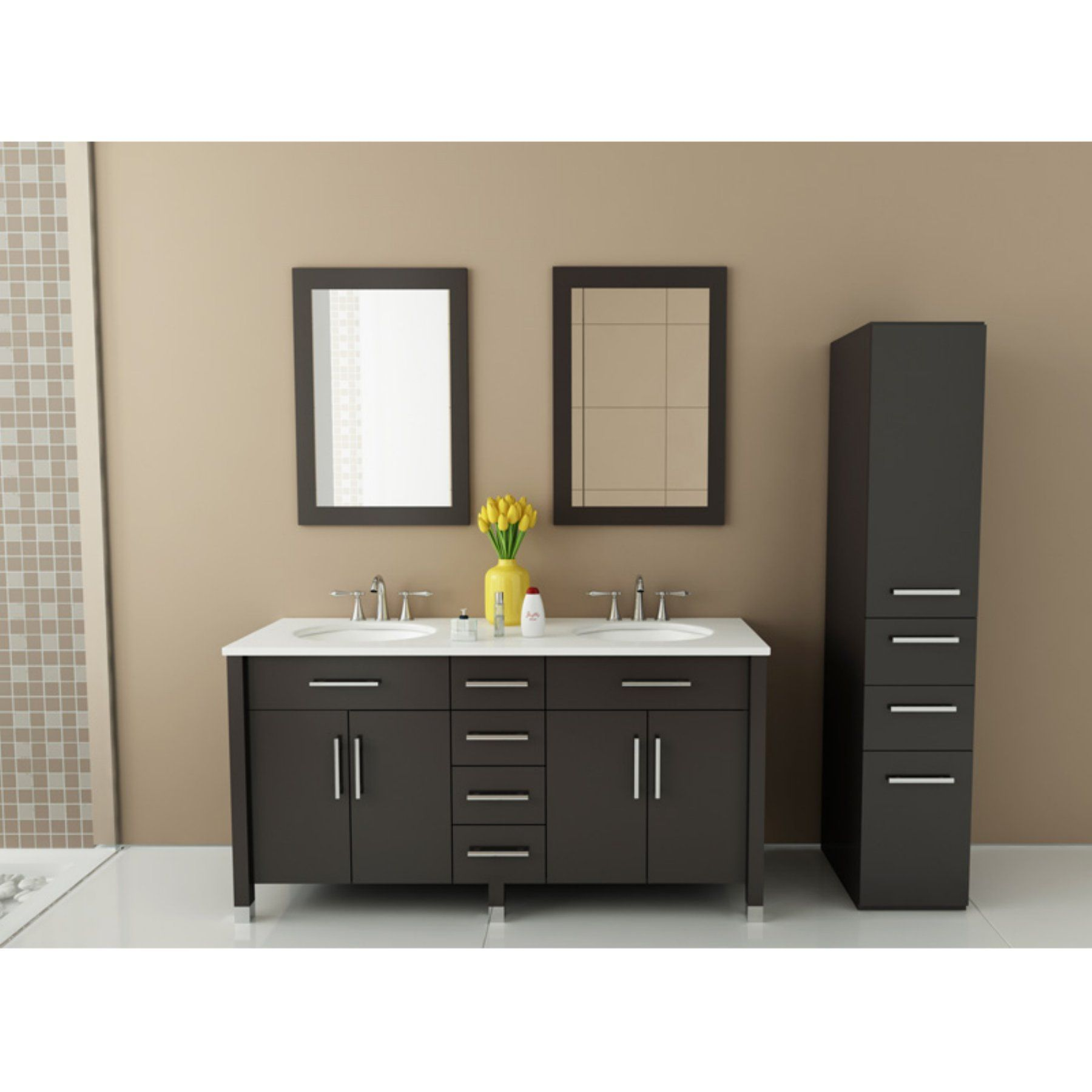 Anny 59 Inch Traditional Brown Tan Finish Double Bathroom Vanity