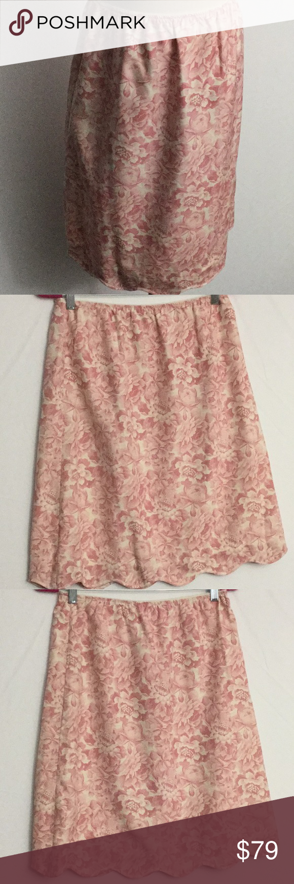 A-line fully lined Vintage silk skirt