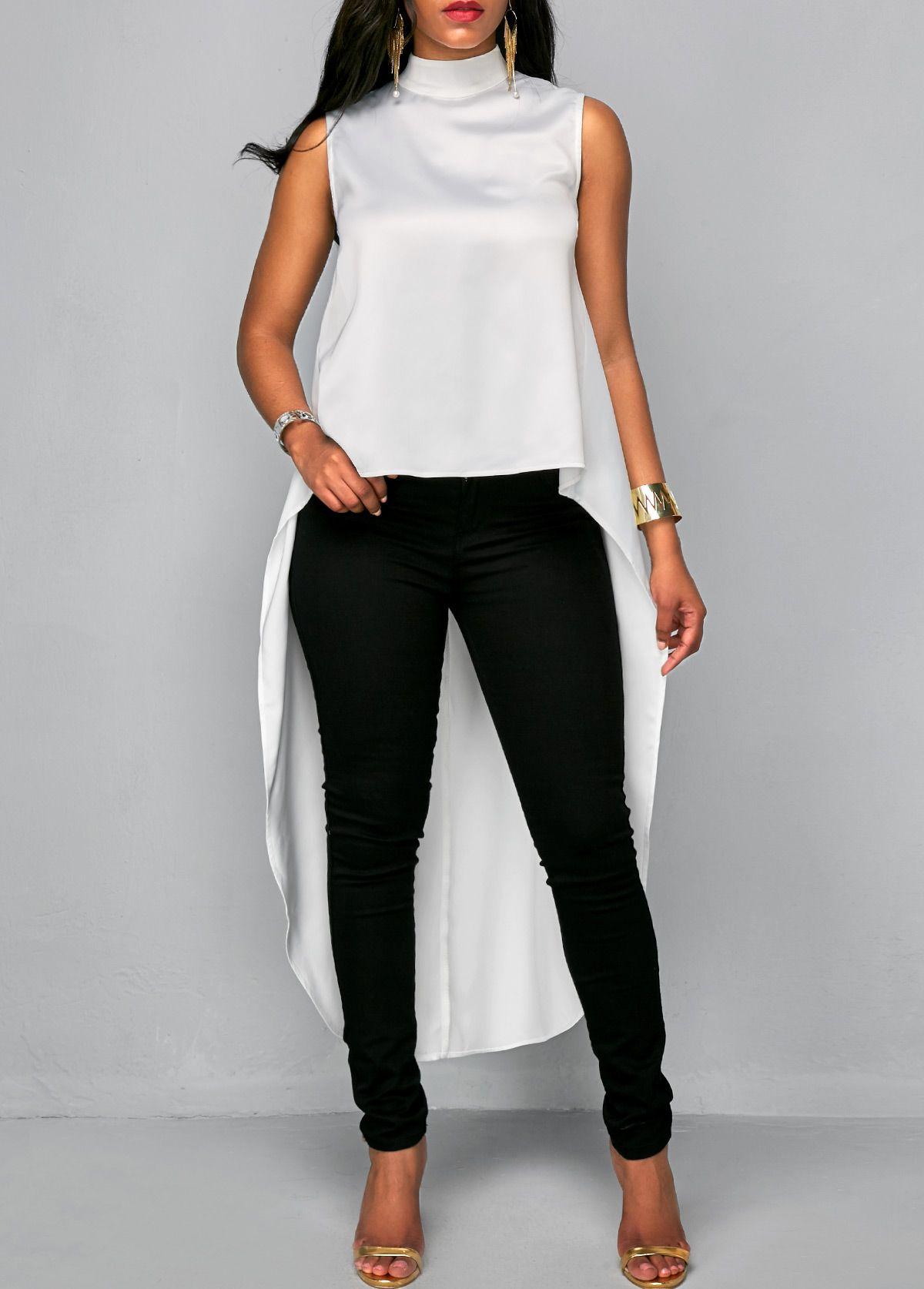 White Asymmetric Hem High Neck Sleeveless Blouse  15395b3ca3a