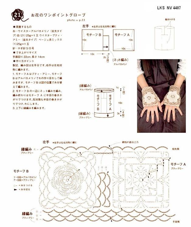 guantes+sin+dedos+patron.png 628×747 píxeles | tejer con gancho ...