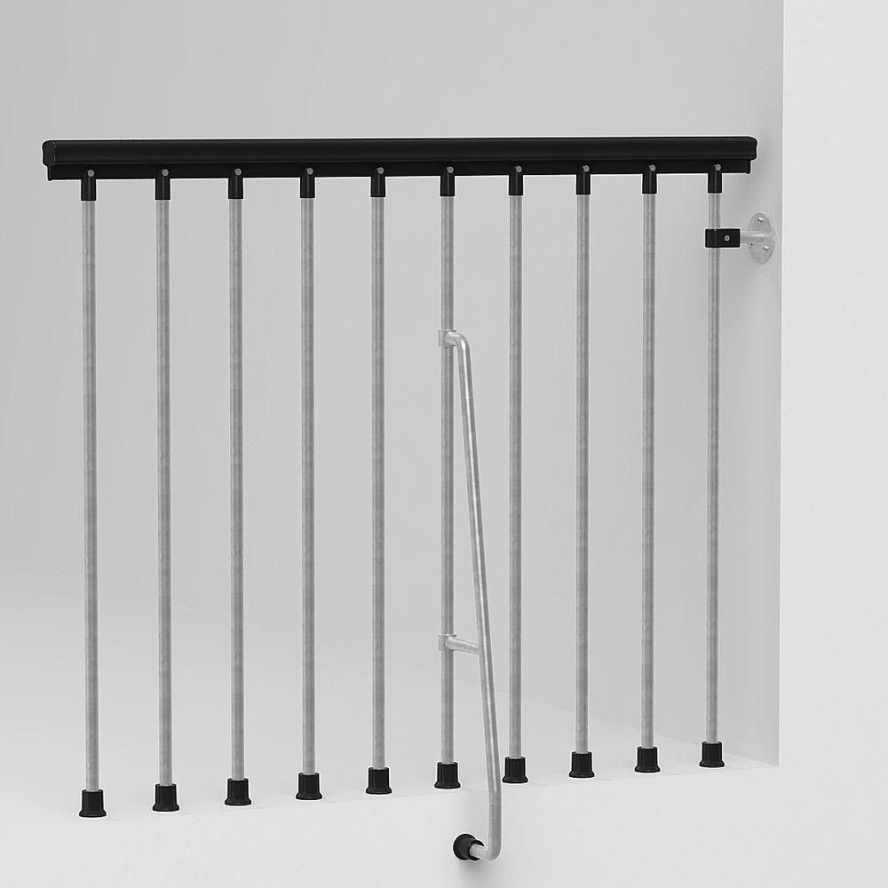 Best Arke 47 In Galvanized Balcony Rail Kit Stair Railing 640 x 480