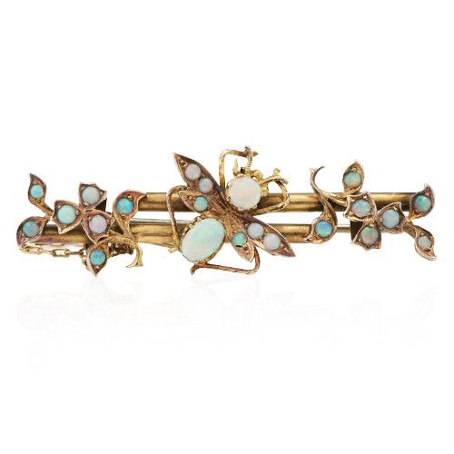 Antique opal brooch. Crafted in 9ct gold. Circa 1890.