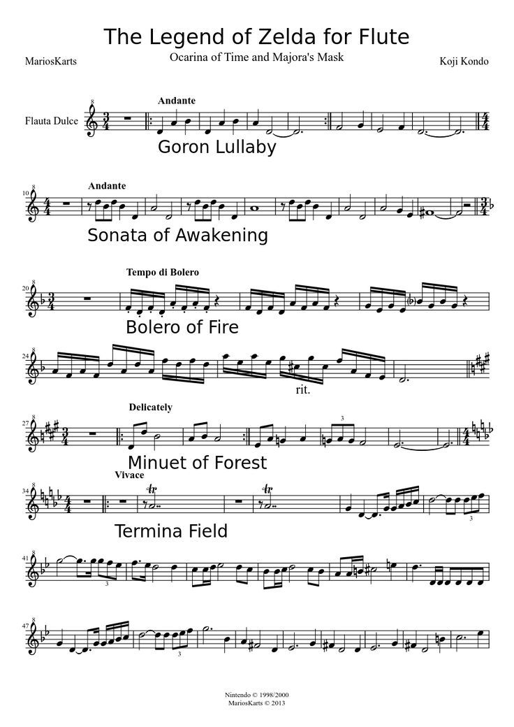 Beginner Legend Of Zelda Piano Sheet Music