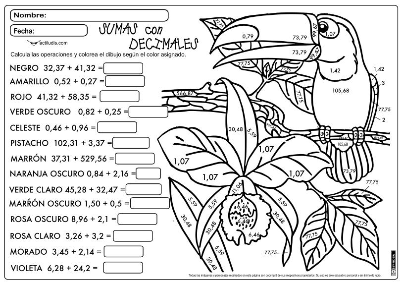 Resultado de imagen de ficha sumas y restas numeros decimales