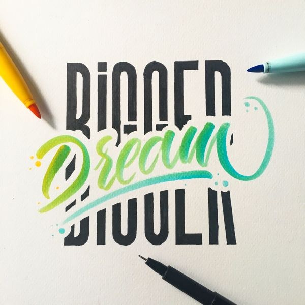 Hand lettering works with bic visaquarelle and pentel